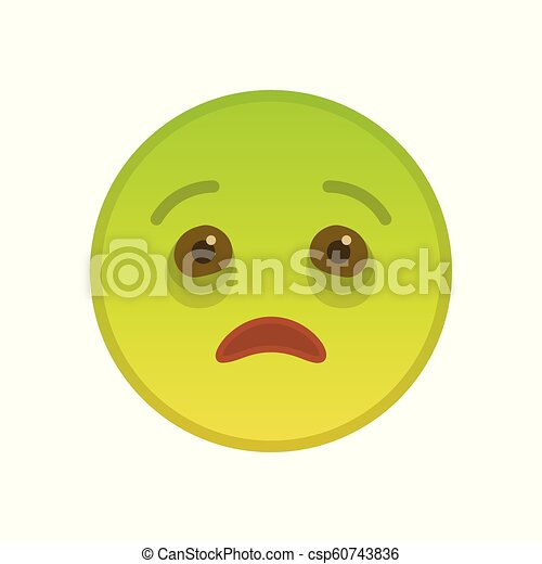 Emoticon Fond Blanc Isole Malade Communication Mouth Element Emoji Ouvert Isole Invalide Arriere Plan Malade
