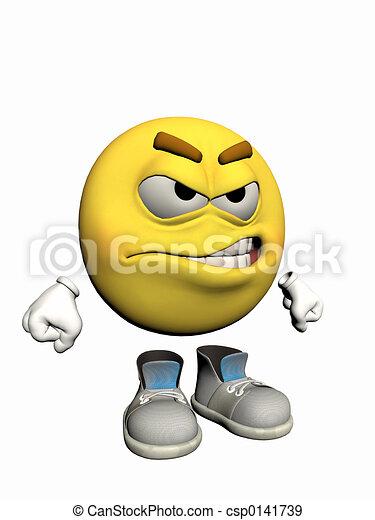 emoticon, guy., fâché - csp0141739