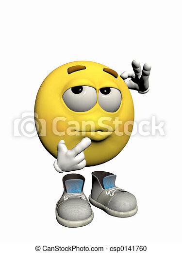 Emoticon guy thinking. - csp0141760