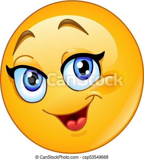 Emoticon femenino feliz - csp53549668