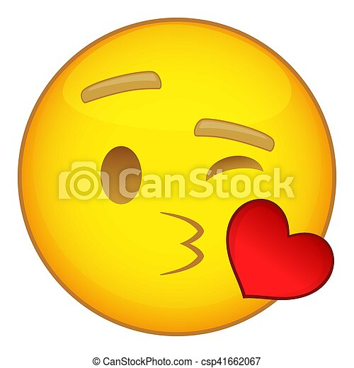 Emoticon In Love With Heart Icon Cartoon Style Emoticon In Love With Heart Beating Icon Cartoon Illustration Of Emoticon Canstock