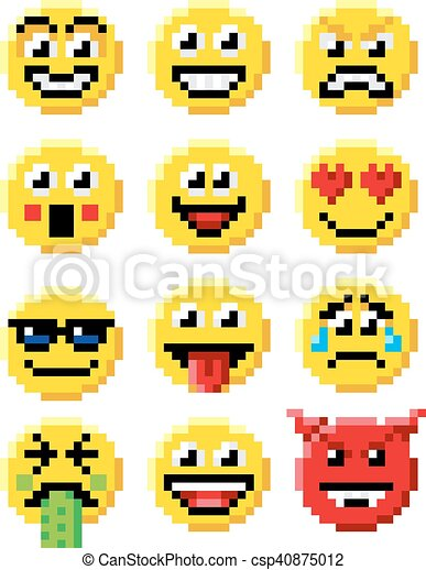 Emoticon Komplet Sztuka Pixel Emoji Emoticon Styl