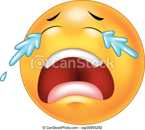 Emoticon Larmes Dessin Anime Pleurer Emoticon Pleurer Isole Illustration Larmes Vecteur Fond Blanc Dessin Anime Canstock