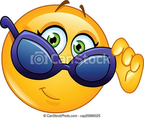 Emoticon looking over sunglasses - csp20686025