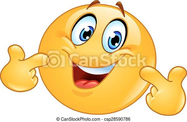 emoticon, lui-même, pointage - csp28590786