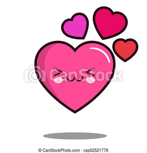 Emoticon Mignon Amour Plat Caractère Kawaii Coeur