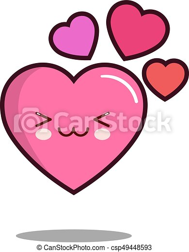Emoticon Mignon Amour Plat Caractère Kawaii Coeur Vecteur Conception Dessin Animé Icône