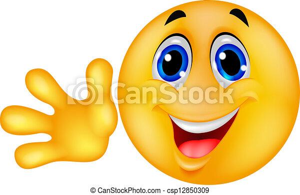 Un emoticon sonriente con la mano - csp12850309