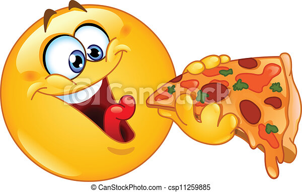 emoticon, pizza mangeant - csp11259885