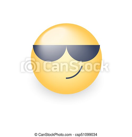 Emoticon Porter Emoji Mignon Smiley Sunglasses Vecteur Noir Heureux Dessin Animé Lunettes