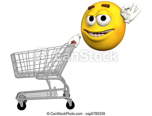 Emoticon Shopping Cart - csp0780339