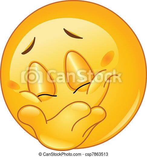emoticon, sorrizo, escondendo - csp7863513