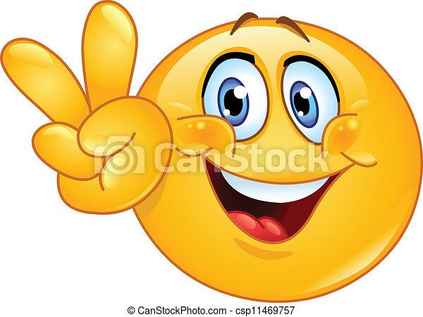 emoticon, v, 印 - csp11469757