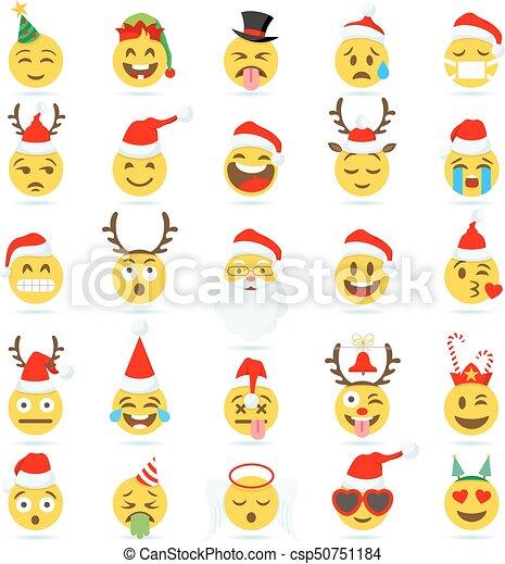 emoticon, vecteur, noël, emoji - csp50751184