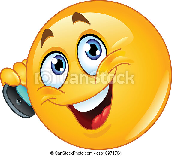 Emoticon with cell phone - csp10971704