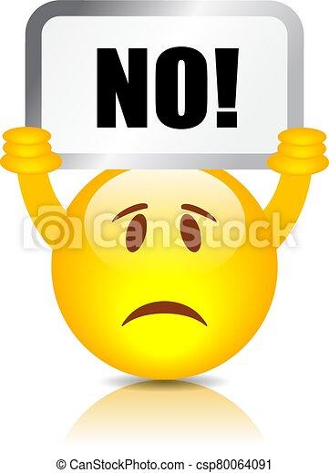 Emoticon with Say No placard - csp80064091
