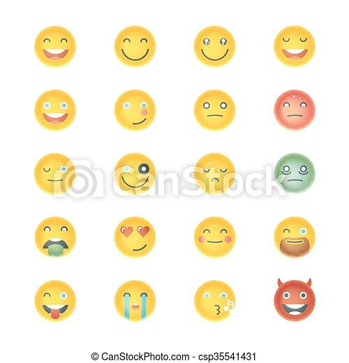 emoticons, セット, emoticons., emoji., collection., 別, icons., 顔, ベクトル, 微笑 - csp35541431