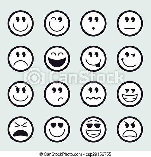 emoticons, ベクトル, セット, アイコン - csp29156755