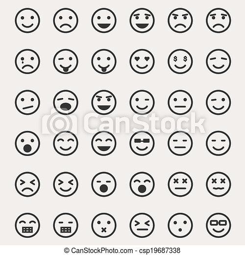 emoticons, ベクトル, セット - csp19687338