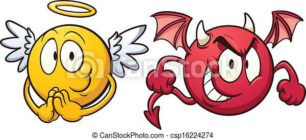 emoticons., 天使, 悪魔 - csp16224274