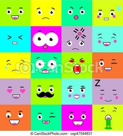 emoticons emoji icons set colorful square mood symbols face expressions csp47594831