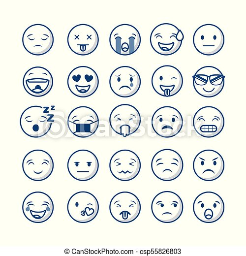 Emoticons Faces Design Emoticons Faces Over White Background