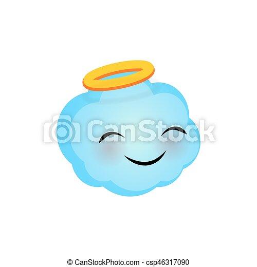 Emotional Faces Cute Angel Cloud Emoji Smile Vector Illustration