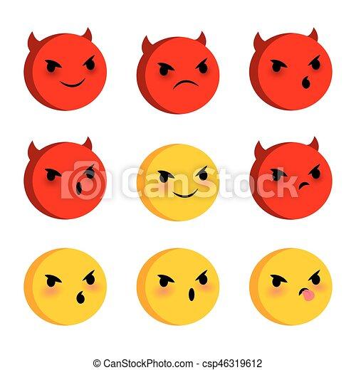 Emotional Faces Evil Devil Smiles Set Emotional Angry Evil Devil