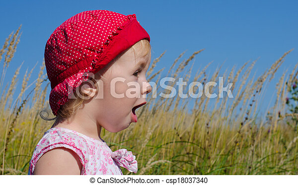 Emotional Little Girl with funny Face Expression  - csp18037340