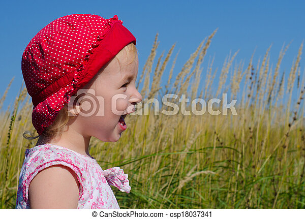Emotional Little Girl with funny Face Expression  - csp18037341