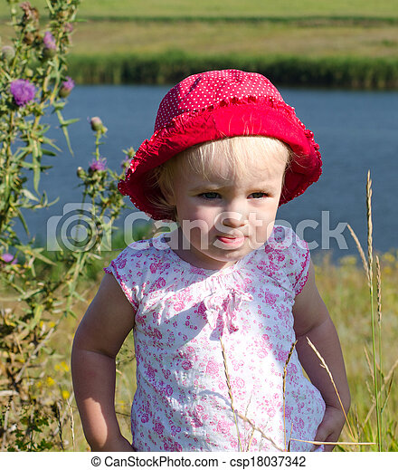 Emotional Little Girl with funny Face Expression  - csp18037342