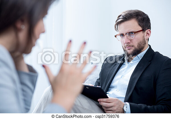 Emotionally unstable woman during psychotherapy - csp31759376