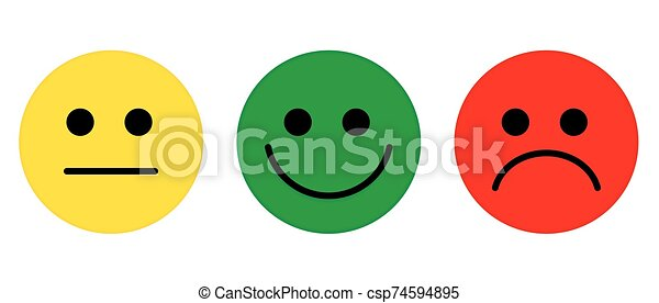 Emotions Face symbol flat vector yellow green red colour. - csp74594895
