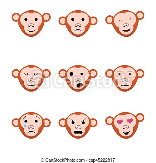 Emotions faces monkeys nine set icons - csp45222817