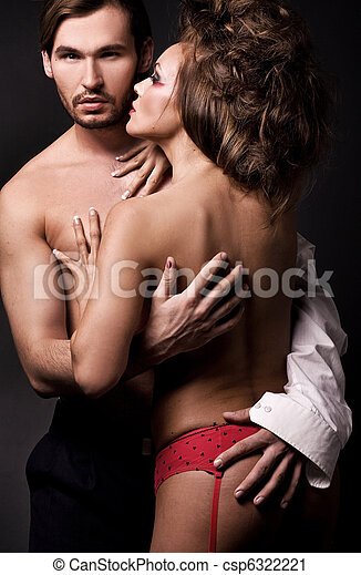 Emotive portrait of a young sexy couple - csp6322221