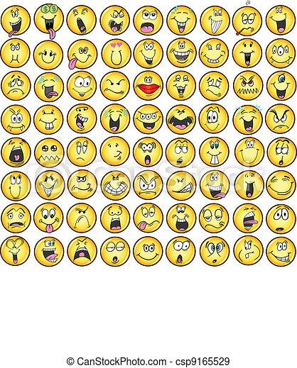 emozione, emoticons, vectors, icona - csp9165529