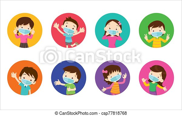 empêcher, chirurgical, porter, virus, masque, enfants - csp77818768