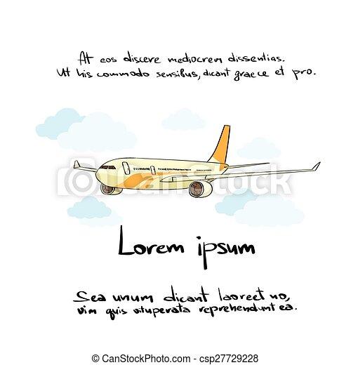 Empate, color, mano, avión, avión, icono. Empate, color, avión ...