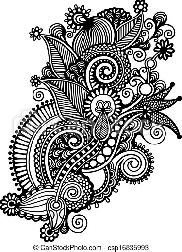 Dibujo a mano en blanco y negro diseño de flores adornadas. Estilo tradicional ucraniano - csp16835993