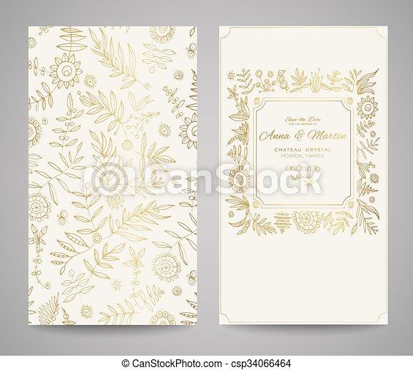 Un Marco Dorado Para Invitaciones O Anuncios Flores A Mano