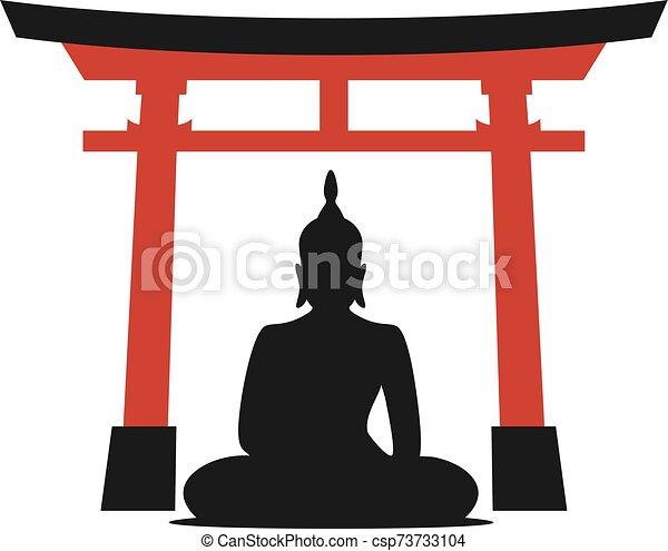 empate, puerta, torii, budha - csp73733104
