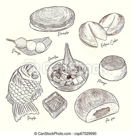 Tipo popular de dulces japoneses. Vector de dibujo a mano. - csp67029990