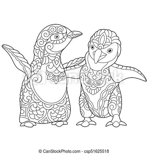 Emperador, joven, pingüinos. Bosquejo, colorido, elements ...