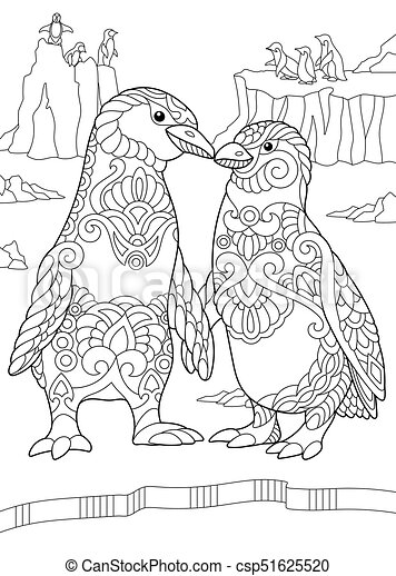 coloring pages penguins in love | Emperor penguins couple. Coloring page of emperor penguins ...