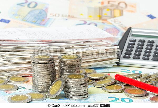empfänge, taschenrechner, kassa, bargeld, geld, stift, rotes  - csp33183569