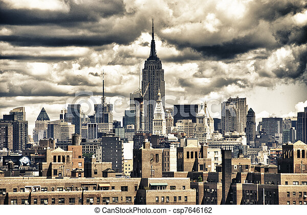 Empire State Building and NYC Skyline - csp7646162