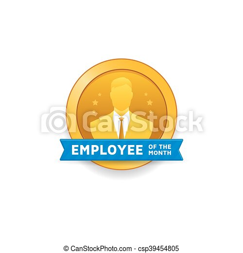 Empleado, mes. Ilustración, mes, vector, empleado, etiqueta ...