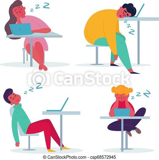 Empleado cansado durmiendo en la oficina. - csp68572945