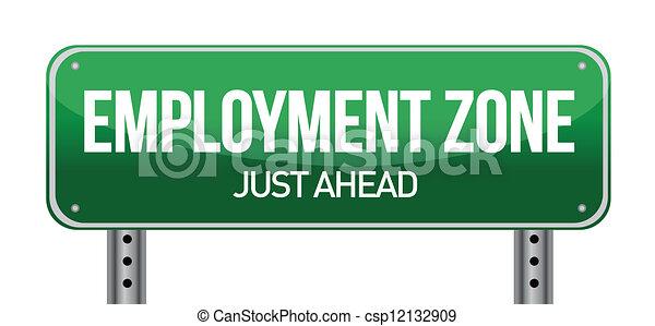 Zona de empleo, señal verde - csp12132909