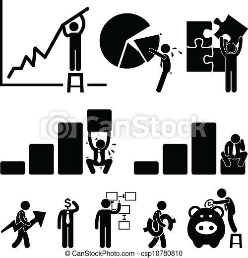 employé, finance, business, diagramme - csp10780810